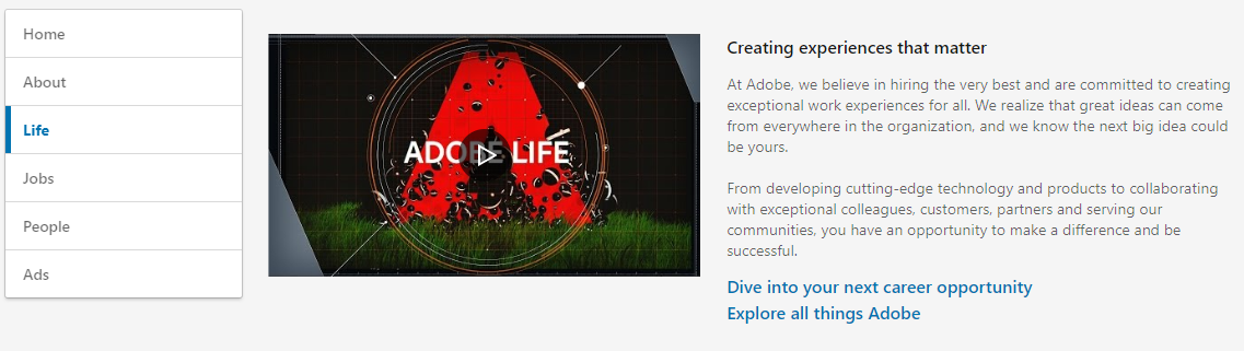Adobe Showcase example on LinkedIn