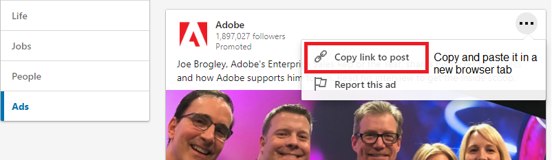 Adobe ads example on Linkedin